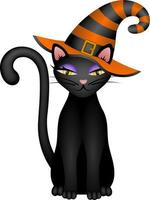 halloween black cat with witch hat vector