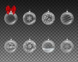 set of transparent christmas balls vector