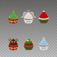 Set of christmas cupcakes with bows vector
