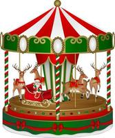 christmas carousel with santa claus and reindeers vector