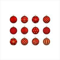set of isolated red christmas balls with gold decorations vector
