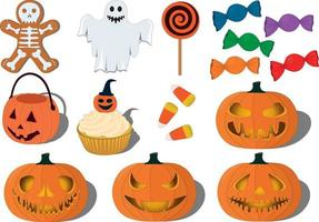 Halloween pumpkins, sweets and items collection vector illustration