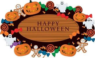 Happy halloween wooden signboard decorated with pumpkins and sweets vector