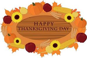Happy thanksgiving day wooden signboard decorated with vegetables vector