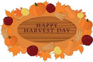 Happy harvest day wooden signboard decorated with vegetables vector