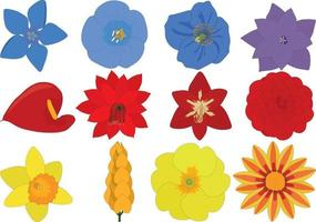Bright blue, red and yellow flowers collection vector illustration