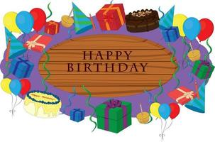 Happy birthday wooden signboard decorated with party items vector