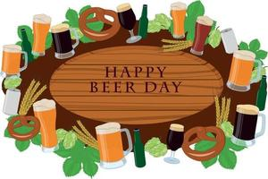 Happy beer day wooden signboard decorated with beer items vector