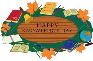 Happy knowledge day wooden signboard decorated with school supplies vector