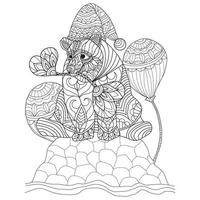 Bear hand drawn for adult coloring book vector