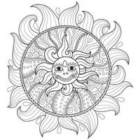 Sun smile hand drawn for adult coloring book vector