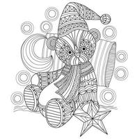 Teddy bear sleep time hand drawn for adult coloring book vector