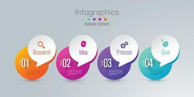 Paper art Infographics and icons with 4 steps vector