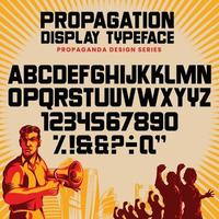 colección de fuentes y números de letras del alfabeto de propaganda vector