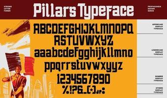 propaganda alfabeto letras fuente y número vector