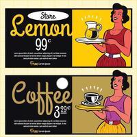 Retro Waitress Serving Drinks Clipart Illustration vector