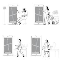 People doodles use GPS control or delivery tracking set vector