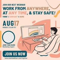 Work at home webinar banner design template vector