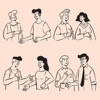 Group of people doodles in conversation illustration vector