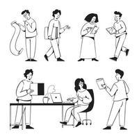 Startup people activities doodles for the marketing agency website vector