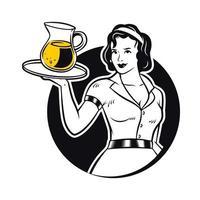 Retro Waitress Serving Lemonade Clipart Illustration vector