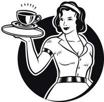 Retro Waitress Serving Coffee Clipart Illustration vector