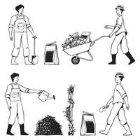 People doodles gardening activities vector