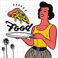 Retro Waitress Serving Pizza Clipart Illustration vector