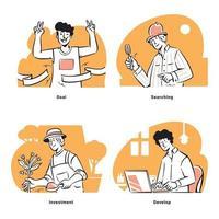 Line art Start-up doodles illustrations vector