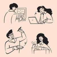 Business People doodles vector