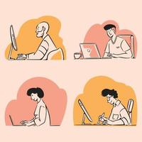 Freelancers working on laptops and computers doodles illustration vector