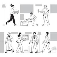 People teamwork activities for startup business concept vector