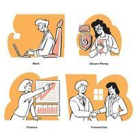 Office environment start-up doodles illustrations vector