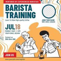 Barista training banner design template. Barista people doodles vector