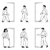 People doodles activities going in the door vector