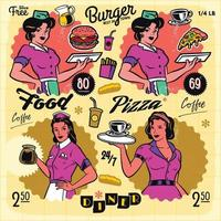 Vintage diner poster menu badge label design elements vector