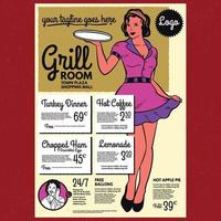 Retro waitress with a tray diner poster menu template vector