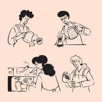 Barista People doodles. Hand-drawn coffee shop concept vector