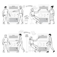People doodles review document contract agreement illustration vector