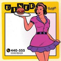 Retro waitress diner poster menu template vector