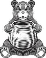 Bear holding honey jar engraving illustration vector