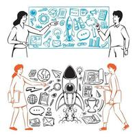 People and icons for the startup website vector