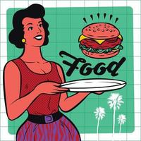 Retro Waitress Serving Burger Clipart Illustration vector