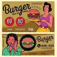 Vintage burger poster menu sign banner. vector