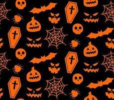 Seamless repeating pattern with Halloween symbols. silhouettes vector
