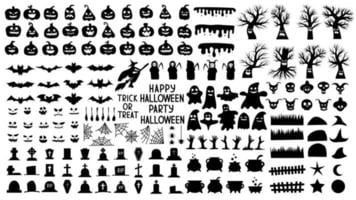 Collection of silhouettes for halloween with creepy pumpkins scary vector