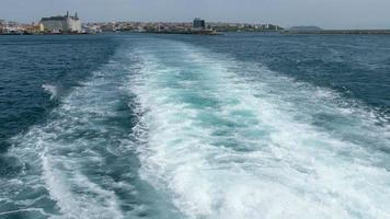 Wake of a ferry boat in super slow motion at Istanbul Kadikoy video