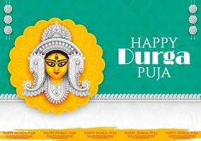Goddess Durga Face in Happy Durga Puja Subh Navratri Indian religious vector