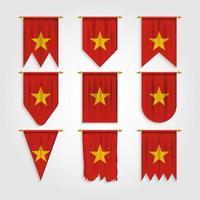 bandera de vietnam en diferentes formas, bandera de vietnam en varias formas vector