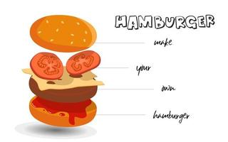 Hamburger ingredients isolated 3D stack vector